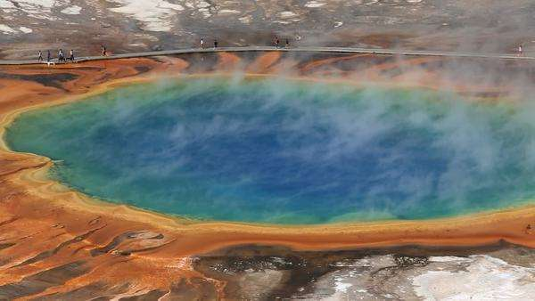 Striking coloration Grand Prismatic Spring the colours of a rainbow Midway Geyser Basin, Yellowstone National Park, Wyoming, USA Royalty-free stock video