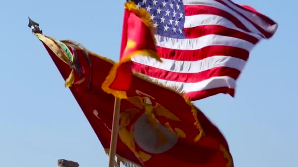 Marine corps troops salute in a ceremony on a runway at an airbase. Royalty-free stock video