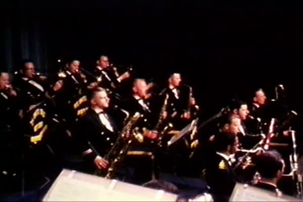 The US Navy Band and Sea Chanters perform a medley of Civil War songs, as footage of Gettysburg monuments is shown and Glenn Ford narrates in 1968. Royalty-free stock video