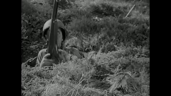U.S. Army propaganda film in World War Two urges men to put aside the rules and kill for the good of country. Royalty-free stock video