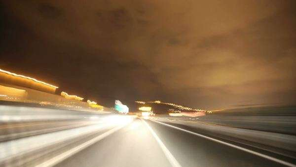 HD timelapse of car driving on highway at night through tunnels. Royalty-free stock video