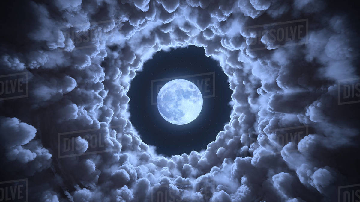 Tunnel in the clouds to moon 3d illustration Royalty-free stock photo