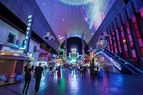 Hyperlapse of a pedestrian mall in Downtown Las Vegas,  Nevada Rights-managed stock video