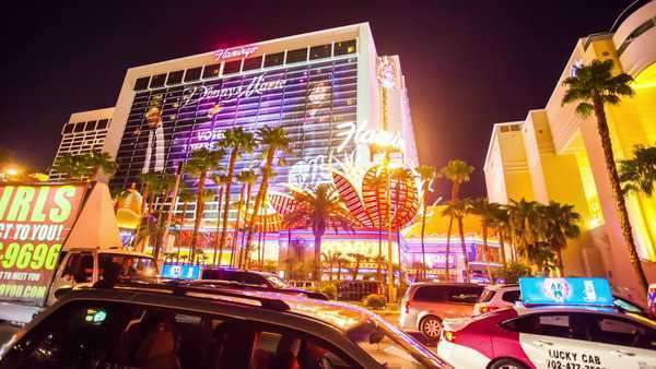 Hyperlapse of Flamingo Casino at night in Las Vegas,  Nevada,  USA Rights-managed stock video