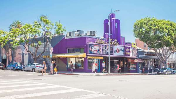 Hyperlapse of the Los Feliz cinema in Los Angeles, California, USA Rights-managed stock video