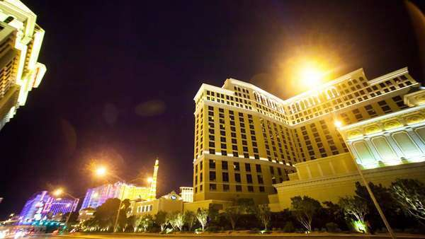 Hyperlapse of Las Vegas at night in California, USA Rights-managed stock video