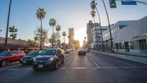 Hyperlapse of Sunset Boulevard in Los Angeles, California, USA Rights-managed stock video