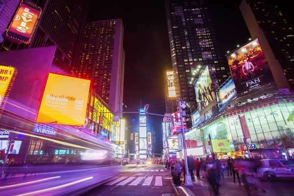 Hyperlapse shot of Times Square at night, New York City Rights-managed stock video