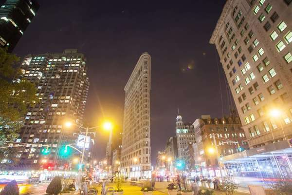 Hyperlapse shot of the Flatiron Building in Manhattan Rights-managed stock video