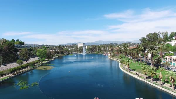 Aerial shot of Echo Park, Los Angeles Royalty-free stock video