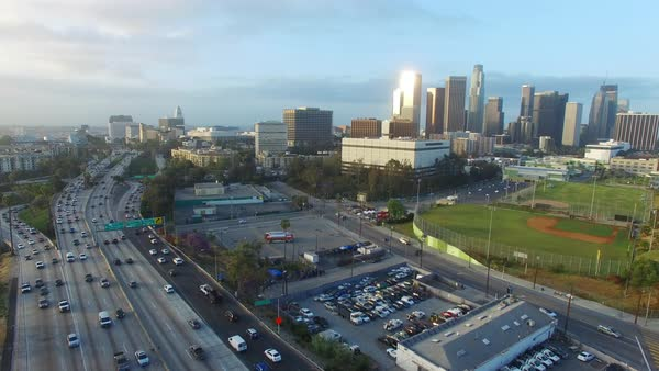 Aerial shot of morning traffic on a freeway in Downtown Los Angeles Royalty-free stock video
