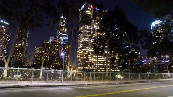 Wide shot of skyscrapers at night Royalty-free stock video