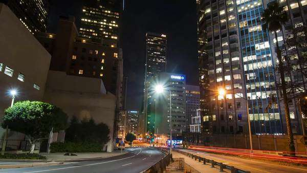 Downtown Los Angeles, California. Moving over the bridge through traffic and buildings. Hyperlapse. Timelapse in motion. Royalty-free stock video