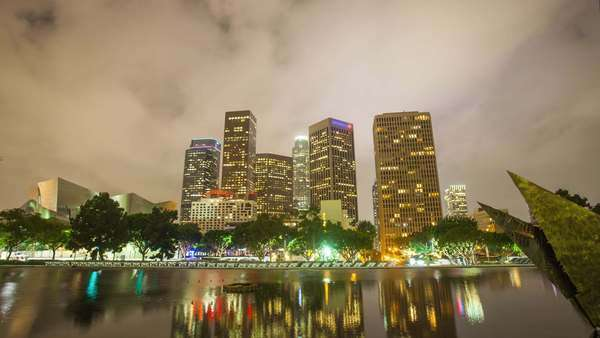DOWNTOWN, LOS ANGELES, CALIFORNIA, USA - 19 OCTOBER 2014, Hyperlapse video view on skyscrapers at cloudy night Royalty-free stock video