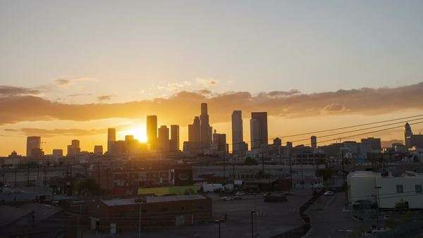 Sunset over downtown. Los Angeles city skyline. Timelapse. Royalty-free stock video