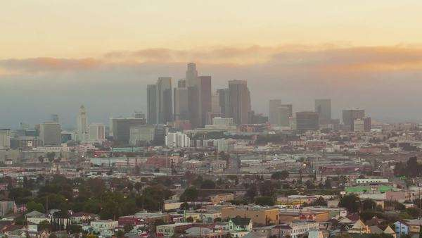 LOS ANGELES, CALIFORNIA, USA - 10 July 2014, timelapse on big city changing from day to night. Royalty-free stock video