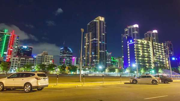 Hyperlapse of an illuminated cityscape at night in San Diego Royalty-free stock video