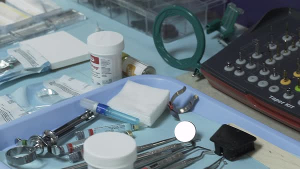 Gimbal shot of dental instruments Royalty-free stock video