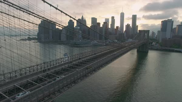 Drone view of Brooklyn bridge and Manhattan skylines  Royalty-free stock video