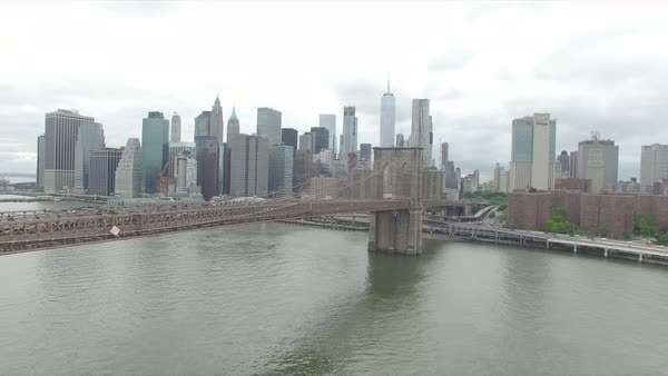 Beautiful aerial view of Manhattan skylines and Brooklyn bridge Royalty-free stock video