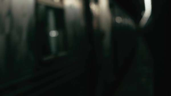 Cinematic bokeh shot of subway train passing by Royalty-free stock video