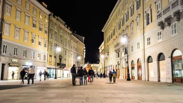 People movement in almost famous street in Trieste, Italy, Europe Royalty-free stock video
