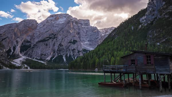 A autumn view of the Braies Lake in Alta Pusteria, Italian Alps  Royalty-free stock video