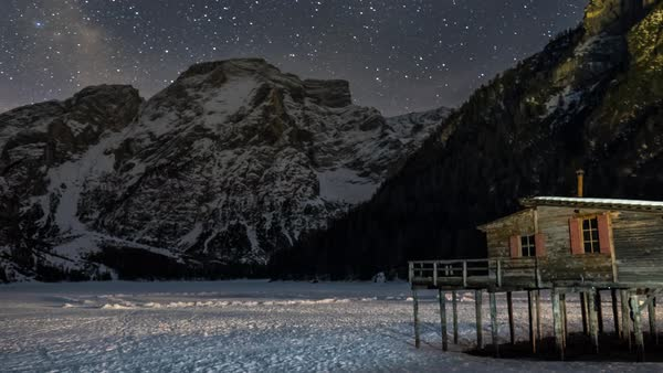 A winter and night view of the Braies Lake in Alta Pusteria, Italian Alps  Royalty-free stock video