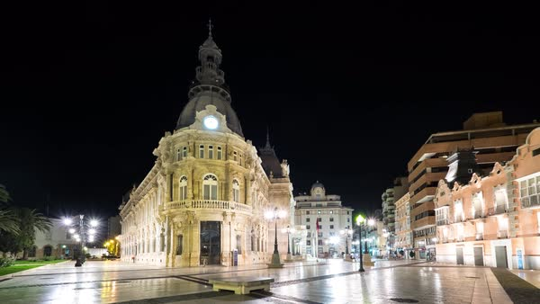 Timelapse of City Hall in Cartagena at night Royalty-free stock video