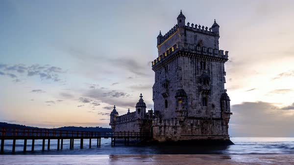 Timelapse of Belem Tower at sunset Royalty-free stock video