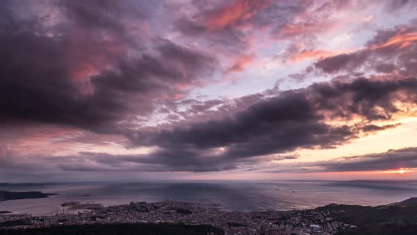View of Trieste, Italy at sunset, clouds moving over sea Royalty-free stock video