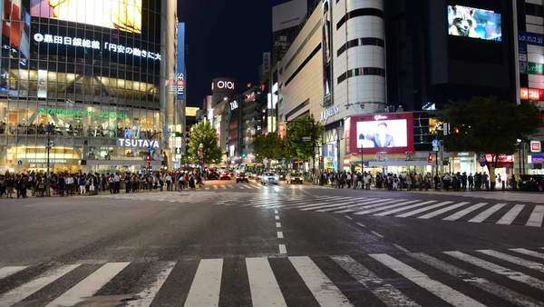 Timelapse of Busy Shibuya Scramble Crossing at Night in Tokyo Japan Royalty-free stock video