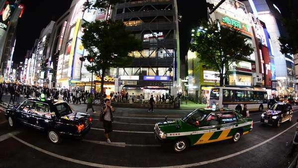 Fish Eye Timelapse of Night Traffic in the Ginza District  - Tokyo Japan Royalty-free stock video