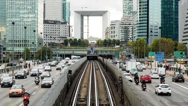 Timelapse of rail & street traffic at La Defense - Paris France Royalty-free stock video