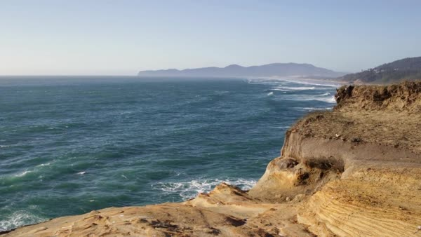 Panoramic View Of Pacific Ocean At Cape Kiwanda, Oregon, USA (Slow Motion) Royalty-free stock video