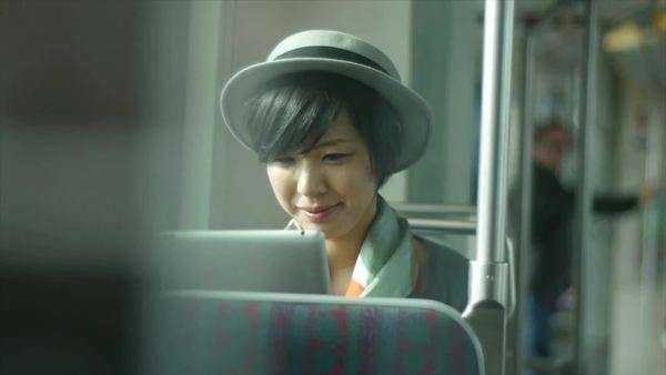 Surreptitious View of A Pretty Train Traveler With A Digital Tablet Royalty-free stock video