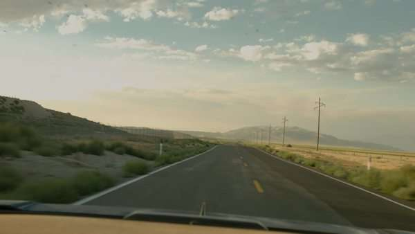 Rearview Of A Desert Road And Cloudscape, Shot From A Convertible Royalty-free stock video