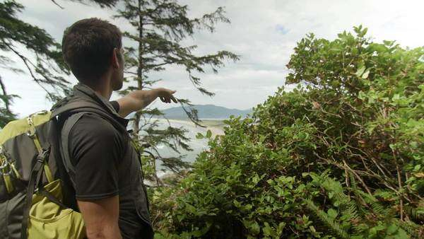 Guide points to pacific ocean, group of hikers look at scenic view Royalty-free stock video