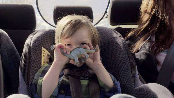 Little boy hides behind his toy dinosaur and smiles happily in his car seat Royalty-free stock video