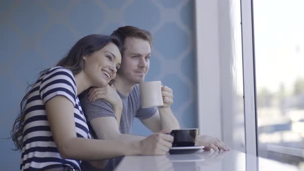 Cute Couple Enjoy People Watching Out Coffee Shop Window Royalty-free stock video