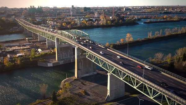 Aerial footage of montreal jacques-cartier bridge Royalty-free stock video