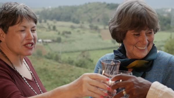 Three happy smiling beautiful active senior women in their 60s toast with wine glasses outside with an amazing mountain view in slow motion Royalty-free stock video