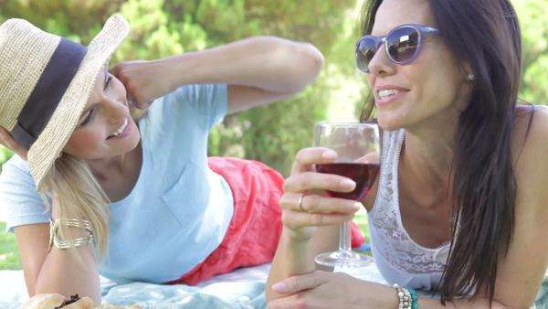 Two women lying on grass facing camera chatting and drinking wine together. Royalty-free stock video