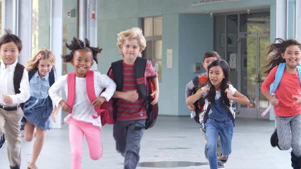 Group of elementary school kids running in a school corridor Royalty-free stock video