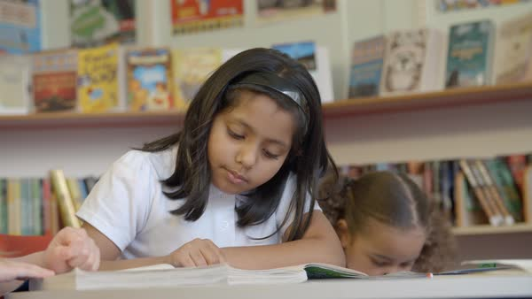 Elementary Pupils Reading In Library Royalty-free stock video