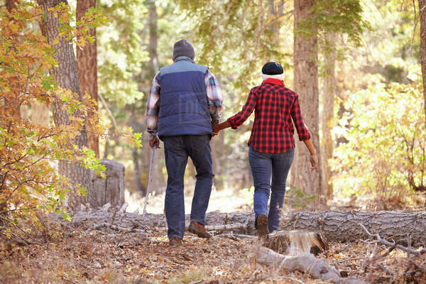 Senior African American Couple Walking Through Fall Woodland Royalty-free stock photo