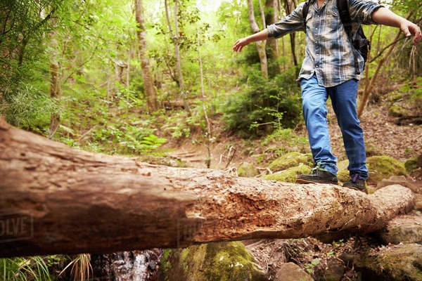 Boy balancing on a fallen tree to cross a stream in a forest Royalty-free stock photo