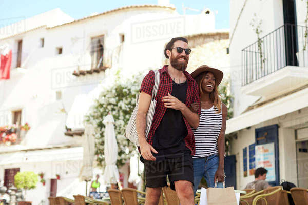 Young adult couple on vacation shopping, Ibiza, Spain Royalty-free stock photo