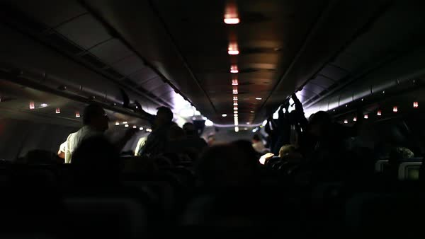 Handheld shot of the interior of an airplane Royalty-free stock video