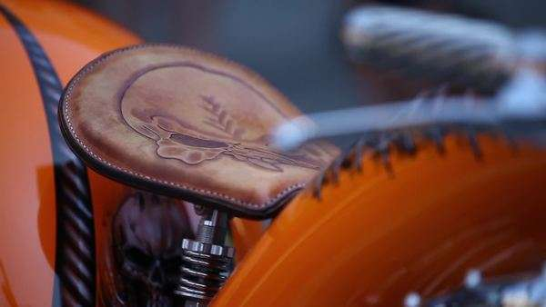 Close-up shot of a custom-built motorcycle Royalty-free stock video